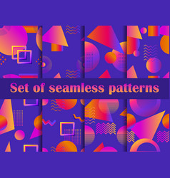 Futurism seamless pattern set liquid shape in the vector