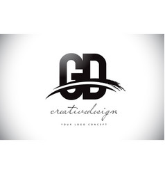 Gd g d letter logo design with swoosh and black vector