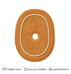 gingerbread number isolated on white vector image