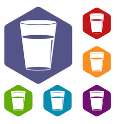 Glass water icons set hexagon vector