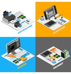 Graphic Design Concept Isometric Set vector