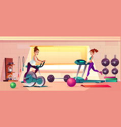 gym background with treadmill bike vector image