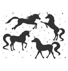 hand drawn cartoon unicorn silhouettes set vector image