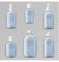 hand sanitizer bottles realistic transparent vial vector image