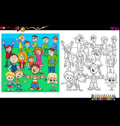 Happy children characters coloring book vector