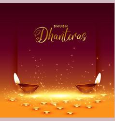 Happy dhanteras card with golden coin and diya vector