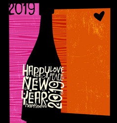 happy new year 2019 champagne bottle vector image