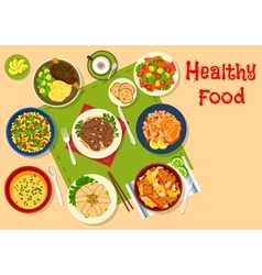 Healthy dinner dishes icon for food design vector