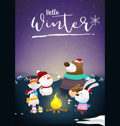 hello winter with animal cartoon and night snow vector image