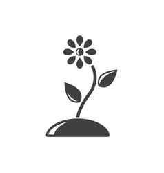 icon flower on the ground on white background vector image