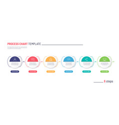 Infographic process chart template six vector