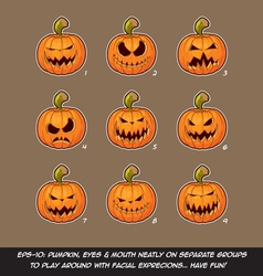 Jack o lantern cartoon 9 scary expressions set vector
