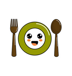 Kawaii plate with spoon and fork icon vector