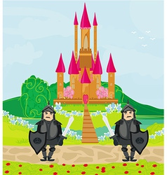 Knights guard the entrance to the castle vector