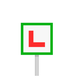 Learner driver plate sign on pillar vector