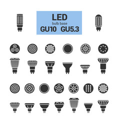 Led light gu10 bulbs silhouette icon set vector