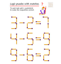 Logical puzzle game with matches to each task add vector
