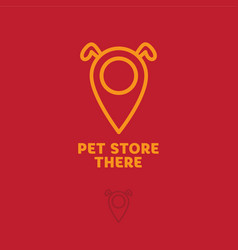 logo pet store dog map marker vector image
