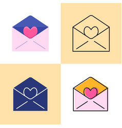 Mail with heart icon set in flat and line styles vector