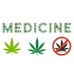 Medicine text mosaic of marijuana vector