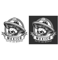 mexican day dead monochrome logotype vector image