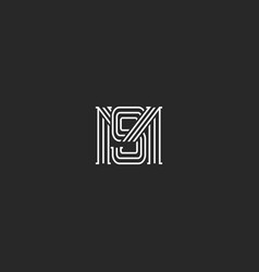 Monogram ms letters logo overlapping lines simple vector
