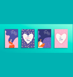 Mothers day card set moms with baby vector