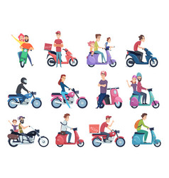 motorcycle riders male and female drivers in vector image
