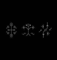 Occult geometry symbol set with circles lines vector