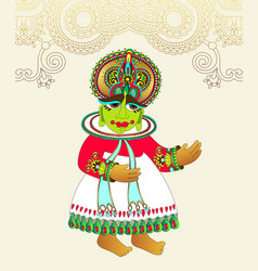 original drawing traditional indian kathakali vector image