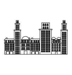 Outline urban cityscape and residential apartments vector