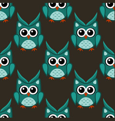 owl stylized art seamless pattern green colors vector image