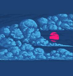 Pixel art clouds 8 bit objects blue magic sky vector