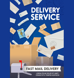 post mail delivery parcels and letters shipping vector image