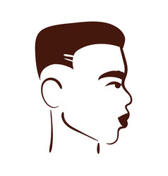 Profile young afro man ethnicity silhouette style vector
