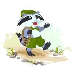 Raccoon scout carries rope animal scout with rope vector