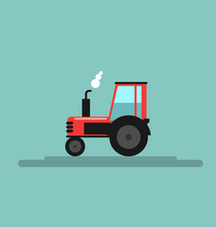 Red farm tractor flat color style vector