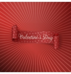 Red textile scroll ribbon with valentines day text vector