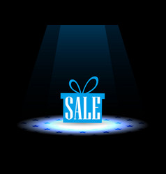 sale gift box under the spotlight vector image