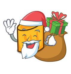 santa with gift rigatoni mascot cartoon style vector image