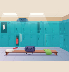 school changing room college gym sport lockers vector image