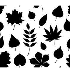 Seamless pattern with black autumn leaves vector