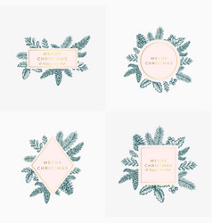 Set christmas foliage cards signs or logo vector