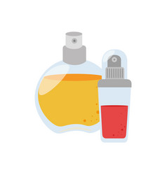 Set collection glass bottle spray fragrance vector