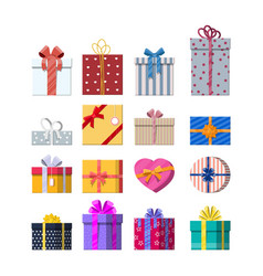 set gift boxes isolated on white vector image