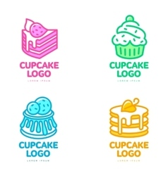 Set of cupcake logos for bakery coffee shop cake vector