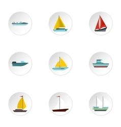 Ship icons set flat style vector image