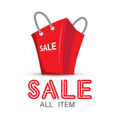 shopping sale all item red bag background i vector image