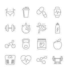 simple set sport fitness gym equipment related vector image