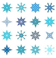 Snowflakes Set - Paper Flat Design vector image
